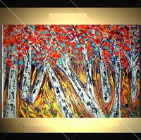 Hand Painted Red Leaves Tree Oil Painting Landscape on Canvas Apply to Home Decoration or Living Room Knife Wall Painting Art