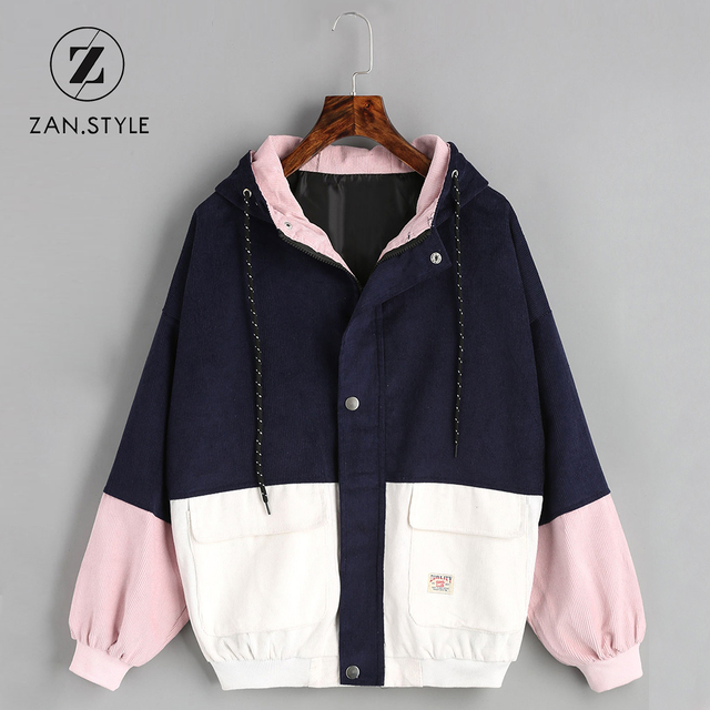 90bb77df77b1 STYLE Women Color Block Hooded Corduroy Jacket Drawstring Pocket Contrast  Basic Women Coat Harajuku Winter Warm Zipper Coats
