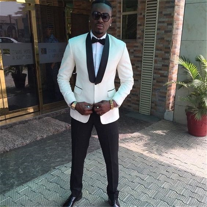 Terno Masculino Wedding Suits For Men Tuxedos White Groom Wear Tailor Suits High Quality  Fit Slim Party Business Suite 2-piece