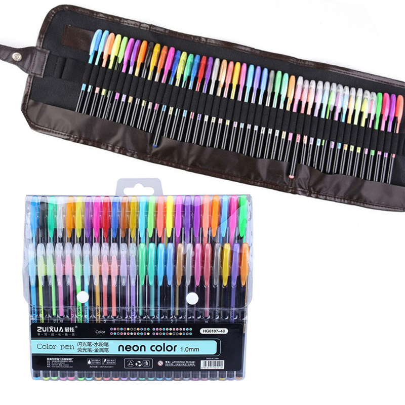 12/24/36/48 Colors Gel Pens Set & Refills School Stationery Pastel Neon Glitter Sketch Pencil Case Drawing Art Marker Gift
