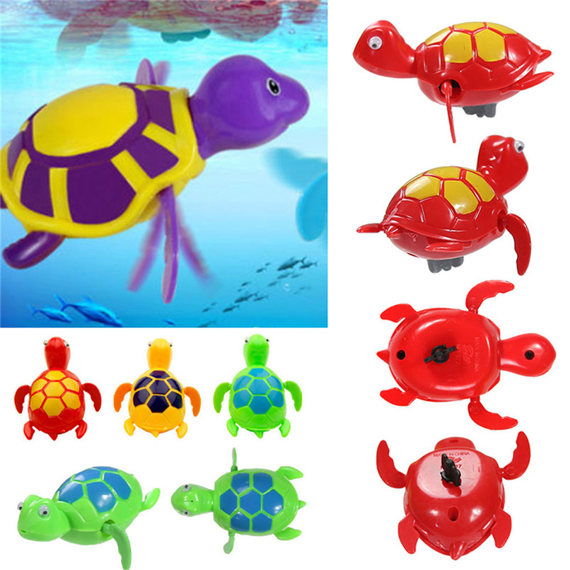 Dabbling Toy Random Color Cartoon Plastic Tortoise Wind Up Clockwork Toy Baby Bathing Shower Toys suit for tub or pool 45JY06#F