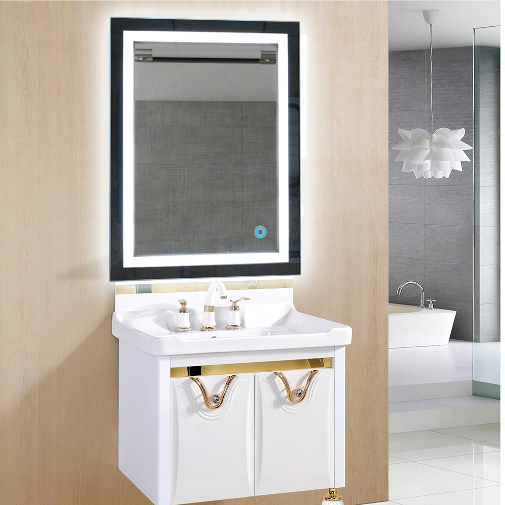 LED Lighted Wall Mount Mirror Rectangular W/Touch Button Bathroom Decor Mirror Illuminated Vanity Cosmetic Makeup Mirror FR woodpow makeup mirror lamps touch screen