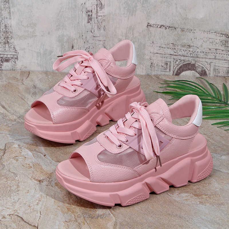 b1abec7c373 Fashion Women Sandals Platform Wedges Women Shoes Thick Heel Lace Up ...