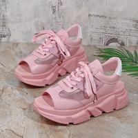 Модные женские босоножки; женская обувь на танкетке; босоножки на толстом каблуке со шнуровкой; Босоножки с открытым носком; Летняя обувь