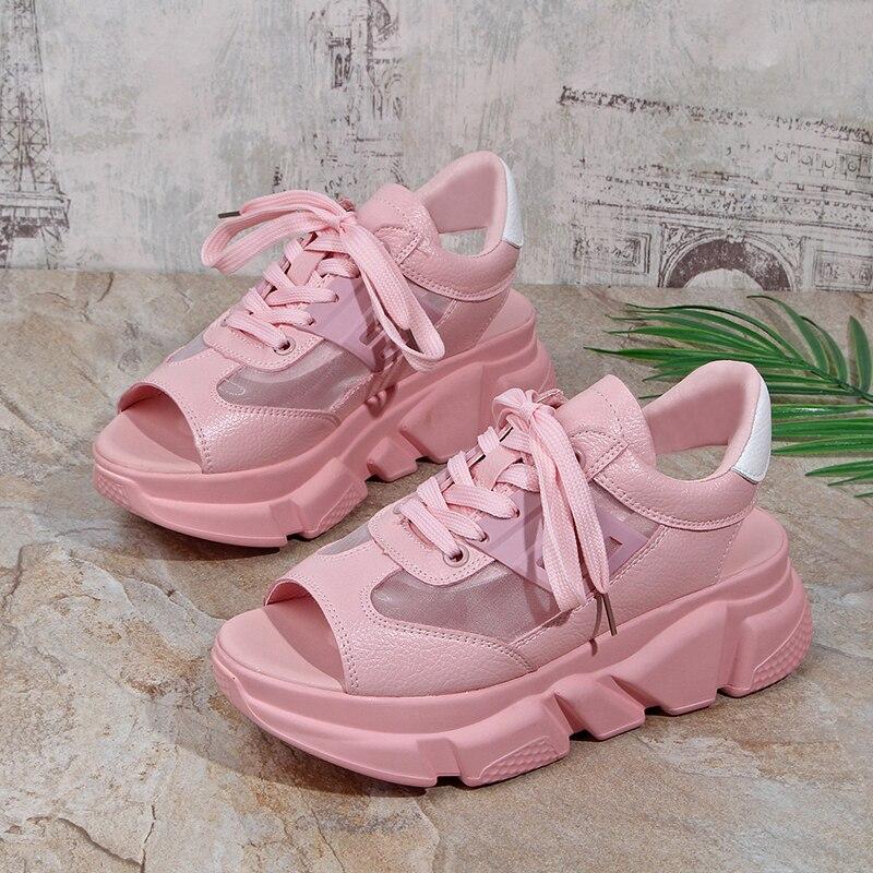 Fashion Women Sandals Platform Wedges Women Shoes Thick Heel Lace Up Sandals Fish Mouth Sandals Summer Innrech Market.com