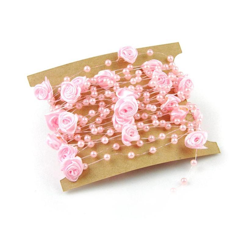 5 м красивые лески искусственный жемчуг СЕТЬ ГИРЛЯНДА цветы для Свадебные украшения Свадебный букет #11020