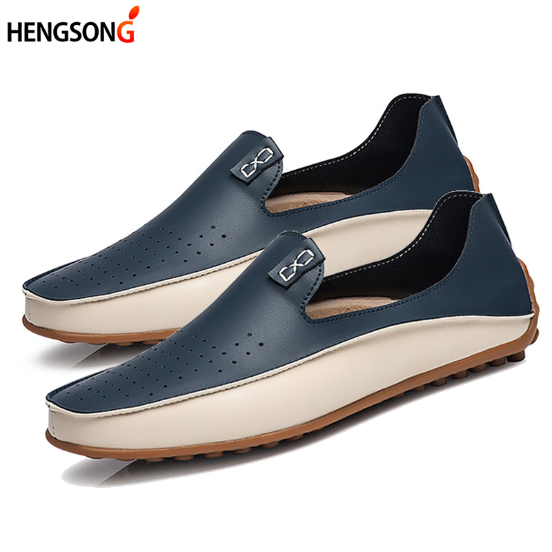 2017 New Fashion Men Loafers Luxury Brand Flats Shoes for Men Driving Shoes PU Leather Loafers Men Casual Shoes 2 Styles 910673 luxury brand men genuine leather loafers for driving shoes moccasins gommino fashion rivet men flats shoes loafers zapatos 2a