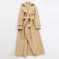 קשמיר הכפולה פנים בינוני ארוכה נשי מעיל 2017 צמר חורף מוצרי הלבשה תחתונה צמר ותערובות