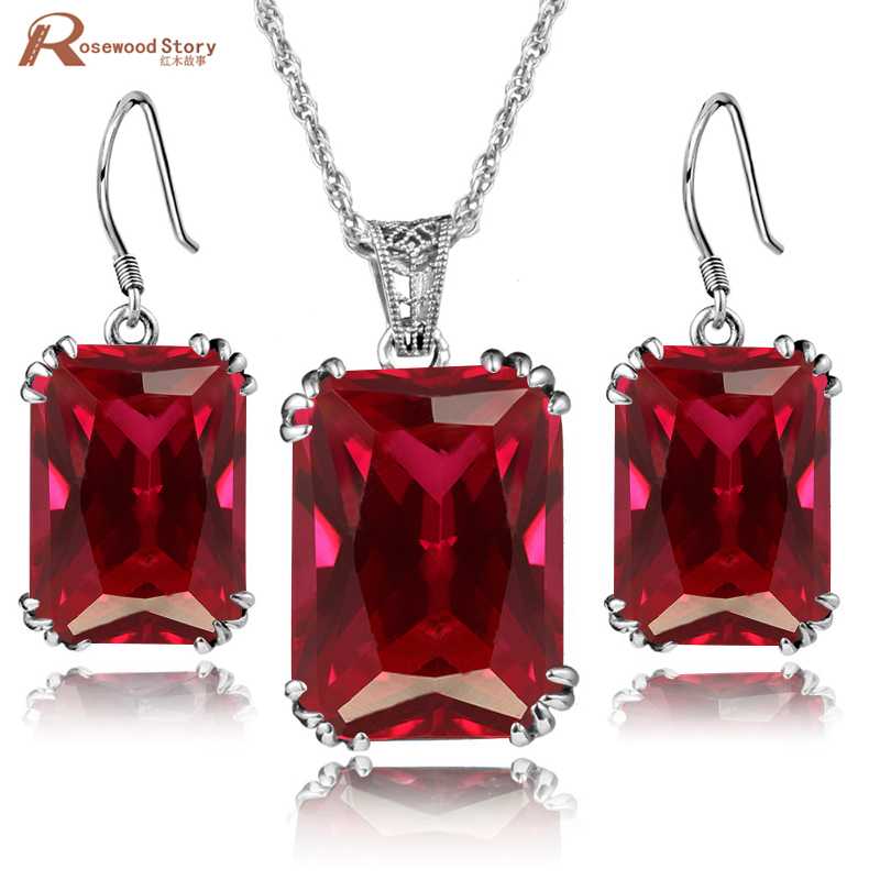 Haute qualité carré rouge pierre cristal ensemble dames bijoux en argent Sterling 925 mode bijoux ensembles cadeaux de noël