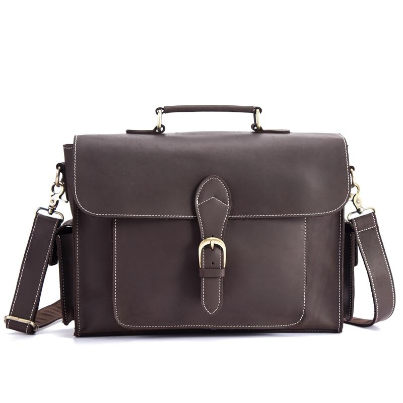 Men's Briefcase Genuine Leather Male Laptop Shoulder Crossbody Bag Tote Handbag Crazy Horse Multi-Pocket 13 Inch Business Bags