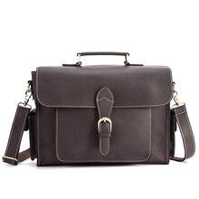 цены NEWEEKEND 2058 Genuine Leather Top Skin Crazy Horse Multi-Pocket 13 Inch Handbag Briefcase Shoulder Crossbody Laptop Bag for Man