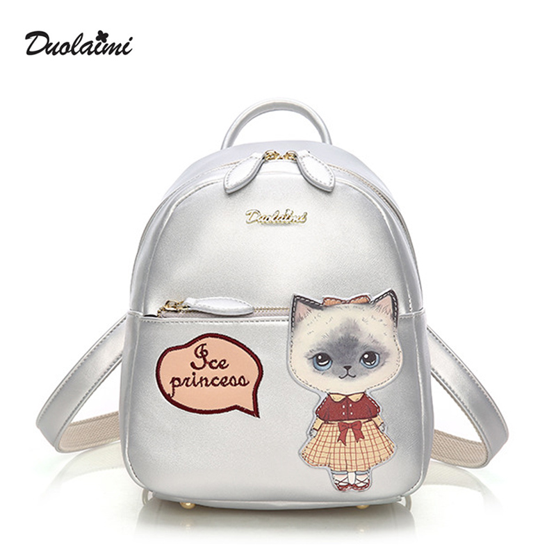 DouLaiMi Brand Design Fashion Cute Cat Leather Women Ladies Girls Silver Backpack School Travel Shoulders Bag Scottish Kilts Bow