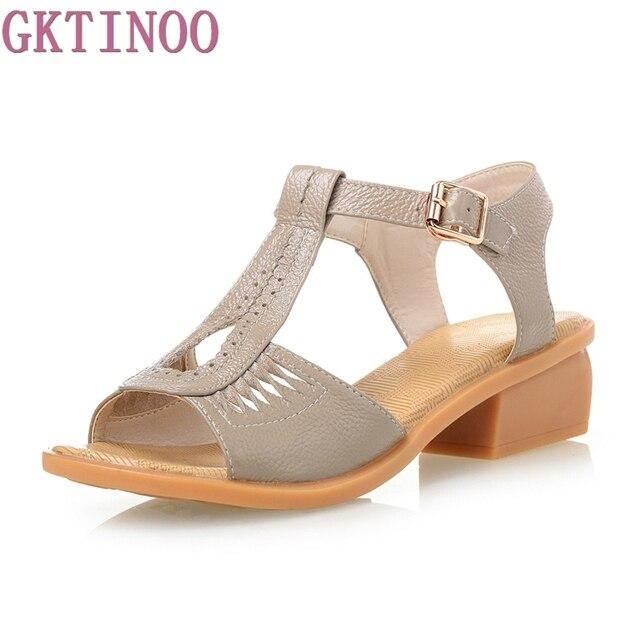 3b18bfea512 Summer Vintage Genuine Leather Shoes Women s Sandals Peep Toe  Slip-resistant Mid Square Heel Shoes Woman plus size 35-42