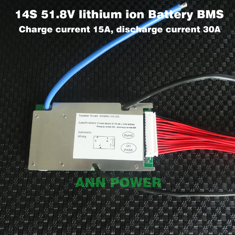3.7V 51.8V lithium ion battery! bms 30A BMS with balance function Different charge