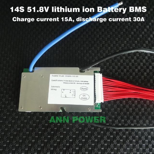 Livraison Gratuite! Batterie lithium ion 51.8V bms 3.7V 14S 30A BMS avec fonction déquilibre port de charge et de décharge différent