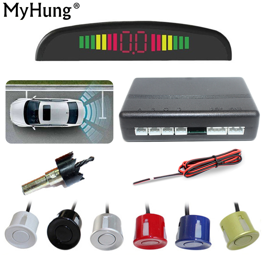MyHung Car Parking Sensors Backup Radar Led 4 Sensors 7 Colors Reversing Radar Car Parking System Backup Radar Monitor Detector auto reversing radar 89341 28480 a0 is suitable for toyota estima parking sensors free delivery