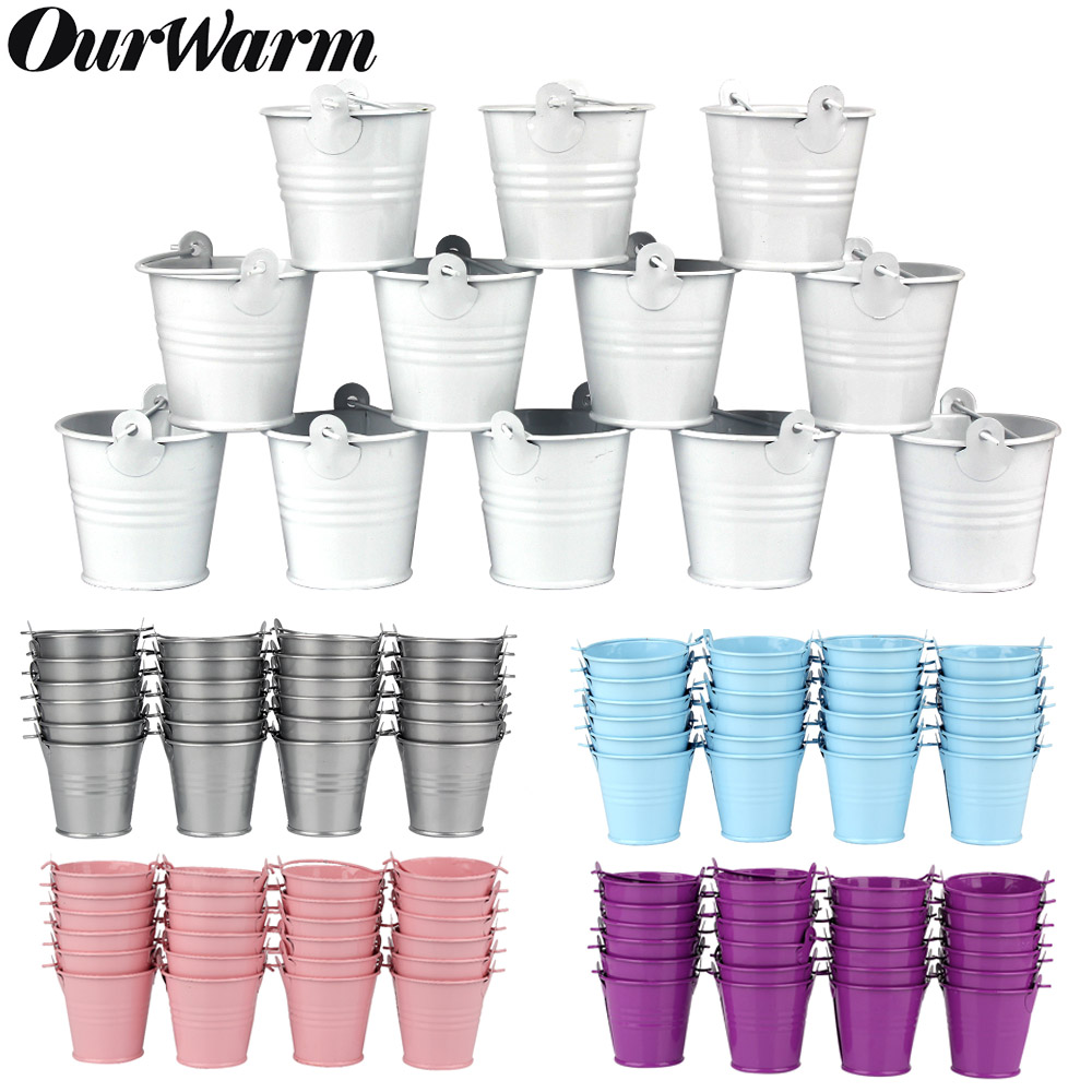 OurWarm 50/36 Baby Shower Candy Box Metal Buckets Pots Mini Pail Tins Sweet Tree Plant Candy Bar Wedding Party Favors Gift Boxes