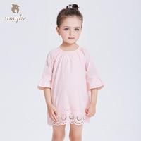 Simyke Dress For Girl Kids Half Sleeves Pink Dresses Spring 2018 Brand 1 6 Year Girls