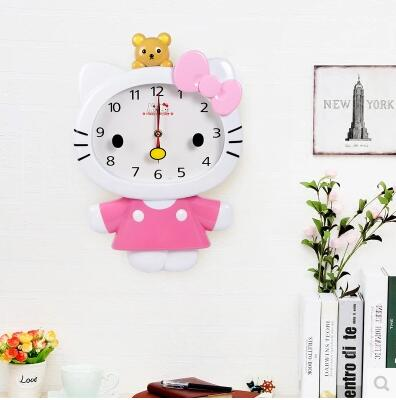 Kawaii Cartoon Larger Size Hello Kitty My Melody Home Wall Clock Best For Children  Room