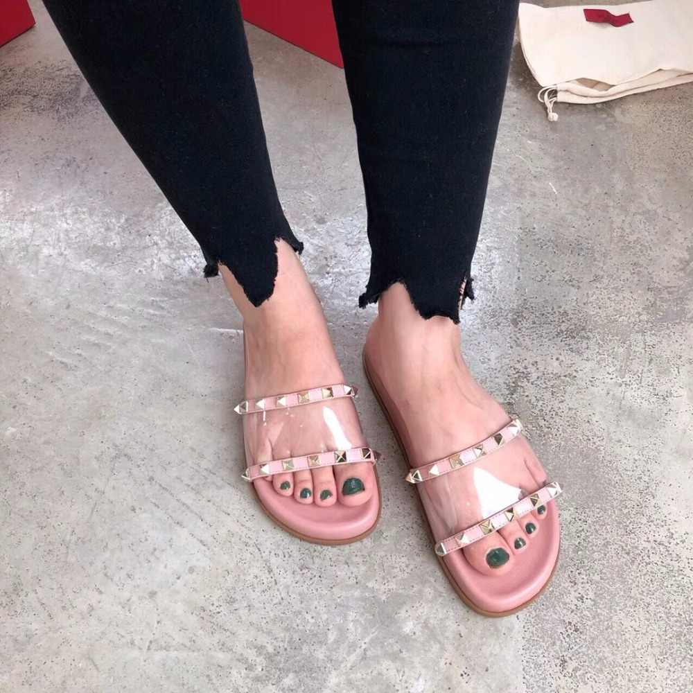 8c6fddb46 ... Summer gladiator Shoes Women Rivets Studded Outdoor Beach Slippers  flipflops clear PVC Flats Slides 2018 Cozy
