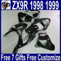 Все темный черный литья под давлением мотоцикл для Kawasaki 98 99 zx9r обтекатели Ninja ZX 9R 1998 1999 обтекатель комплект + крышка танк