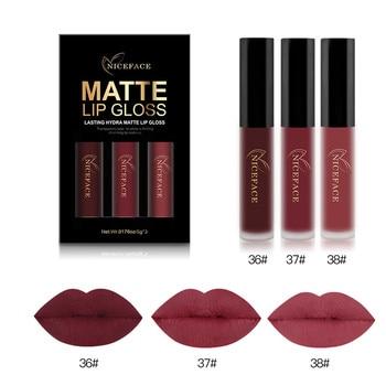 Beauty 3PCS Lip Gloss New Fashion Long Lasting Waterproof Matte Liquid Lipstick Cosmetic Sexy Lip Gloss Kit Makeup Health & Beauty