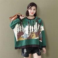 2017 Autumn Women Oversized T Shirt Korean Fashion Loose Cotton Print O Neck Long Sleeve T