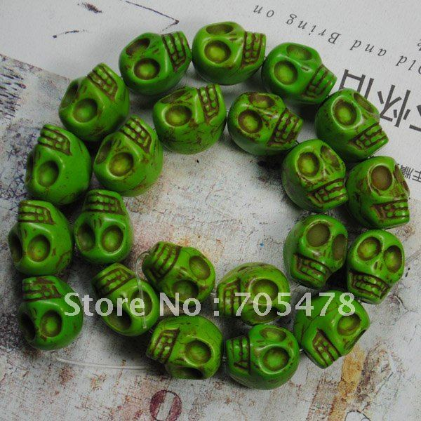"2012 wholesale 13*18mm Green Turquoise Gemstone Skull Loose Beads 16""L(22Pcs/strand) Fit Jewelry DIY Free Shipping"