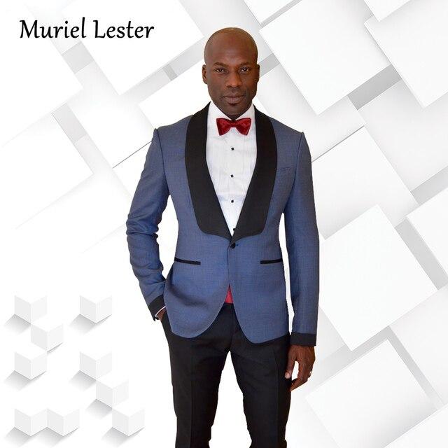 ML 210 Black Satin Shawl Lapel Grey Men Suit Casual Groom Wedding ...