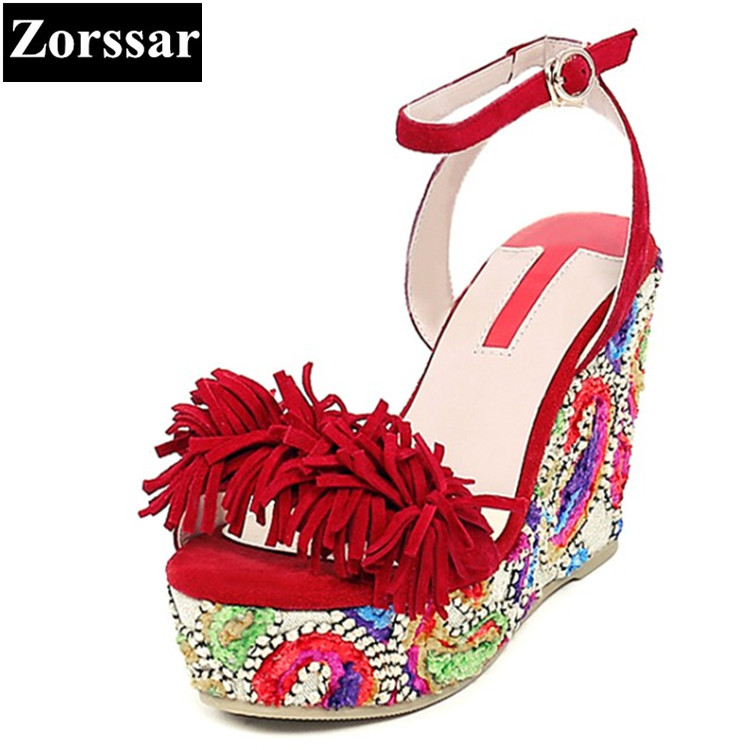 Summer Shoes Woman platform sandals wedges High heels fashion Tassel Genuine leather Ethnic style womans peep toe pumps heels