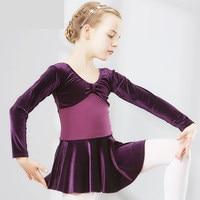 Girls Ballet Velvet Dance Costume Kids Ballet Dresses Gymnastics Dance Tutu Leotard Girl Velvet Dancewear