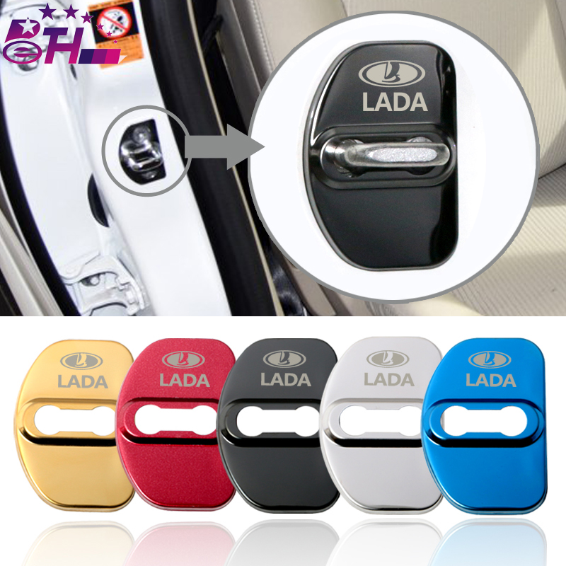 4pcs Car-Styling Door Lock Cover Car Emblem Fit For Lada XRAY Vesta SW Cross Accessories Stainless Steel Car Styling