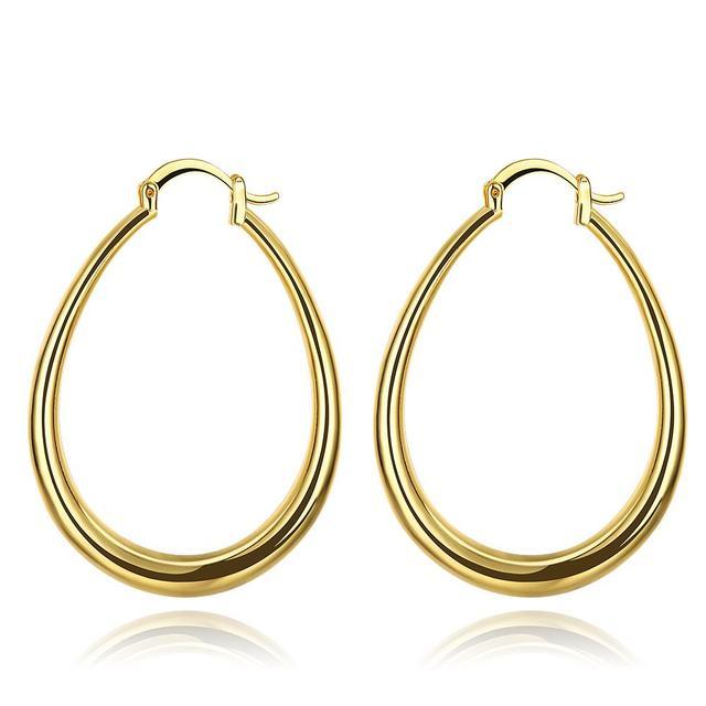 922c7a2b8 Trendy Gold Color Ellipse Creole Hoop Earrings Casual Oval Piercing Women  Jewelry Cincin Hadiah Anting Untuk Wanita Bijoux