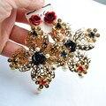 2015 queen mujeres moda vintage barroco royal flower beads declaración cruz cuelga los pendientes wendding de la joyería del partido P29