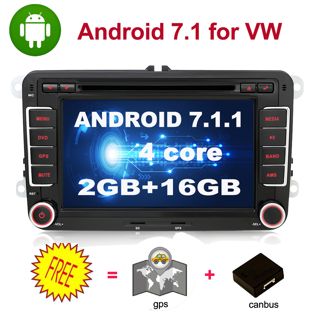 quad core 2 Din Android 7 1 Car DVD radio GPS Navigation For Volkswagen GOLF 4