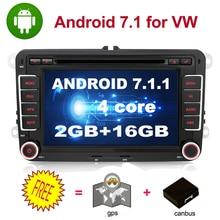 Quad core 2 Din Android 7.1 Car DVD radio di Navigazione GPS Per Volkswagen GOLF 4 5 6 POLO PASSAT TIGUAN wifi + Bluetooth + Radio + GPS