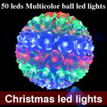 AC110/220V change color RGB 50 LED ball Colorful Christmas Light Party xmas Decoration LED  Lights Free Shipping