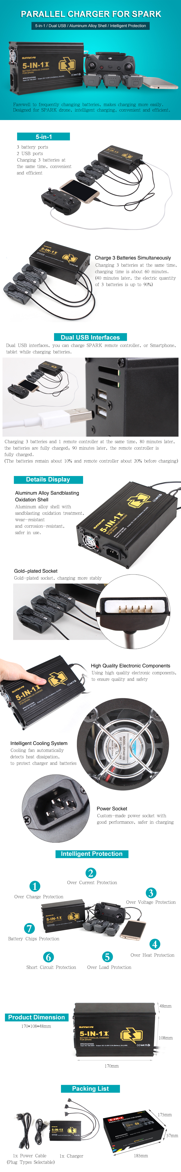 for DJI Spark Drone 5in1 Battery Remote Charger for Phone Charging with Dual USB ports Intelligent Chargers EU / US Plug