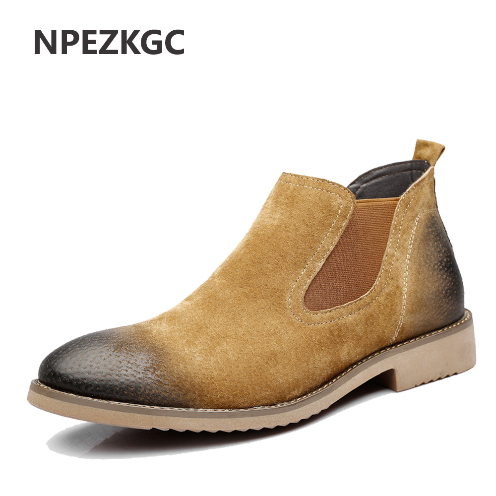 NPEZKGC Men Chelsea Boots Genuine Suede Leather Sewing Thread Men Ankle Boots Britain Style Shoes Leather Men Boots цены