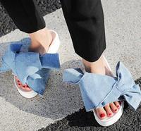 Sıcak Satış 2017 Yaz Denim Mavi Düz Sandalet Seksi Platformu Kelebek-biliyorum Slaytlar Moda Kadın Gladyatör Sandalet Gerçek Fotoğraf