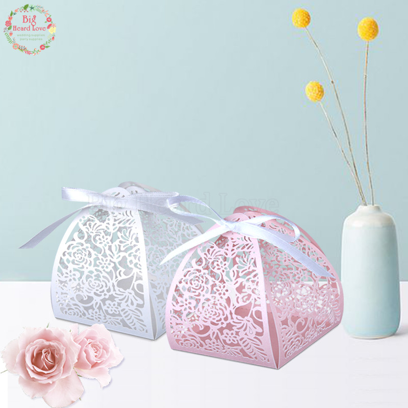 Flowers For Wedding Gift: 50pcs Lace Flower Design Laser Cutting Wedding Candy Box