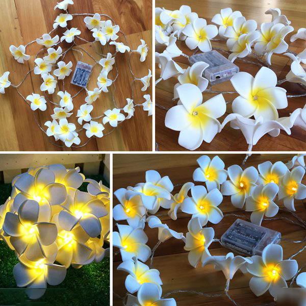 Hawaiian Foam Artificial Plumeria Flower Led String Lights Bedroom Home Decor Battery Operated Fairy Lights For Wedding Party
