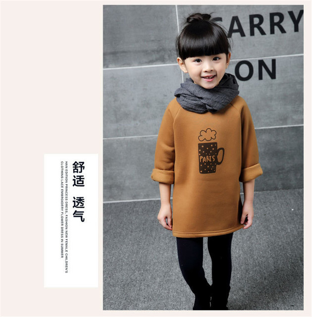 2017 Autumn winters brown thickening private label sets coffee fleece backing long-sleeved T-shirt unlined upper garment