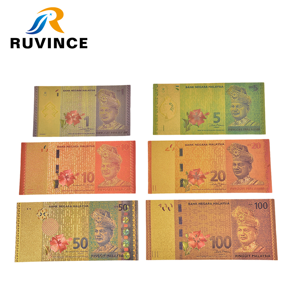 Ruvince 10pcs lot Colored Malasia Gold Banknotes 1 5 10 20 50 100 Ringgit Banknotes in 24k Gold Fake Paper Money For Gift in Gold Banknotes from Home Garden