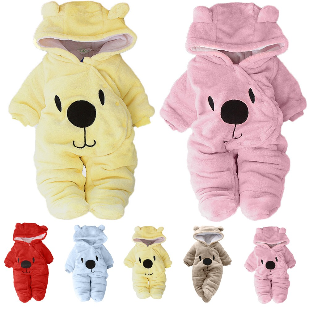Newborn Baby Girl Boy Solid Cartoon Bear Velvet Hooded Jumpsuit Romper Clothes Roupas Recem-nascido 0-3 Meses Baby Meisje