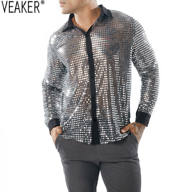 2019 New Men's Sexy Sequin Transparent Shirt Black See Through Shirt Male Long Sleeve Nightclub Shiny Gold Shirt S-2XL