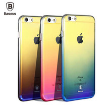 Baseus caso originalidade para iphone 7 luxo aurora cor gradiente transparente case para iphone 6 s 7 mais luz dura da tampa do caso pc