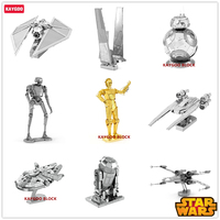 Kaygoo Piece Fun 3D Star Wars Xwing ATAT Millennium Falcon BB8 Vader Tie Fighter Metal Puzzle