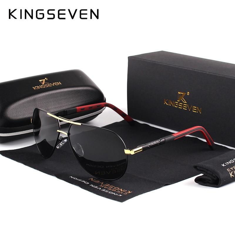 Купить на aliexpress KINGSEVEN Мужские Винтажные алюминиевые поляризованные солнцезащитные очки Классические брендовые солнцезащитные очки с покрытием линзы для ...