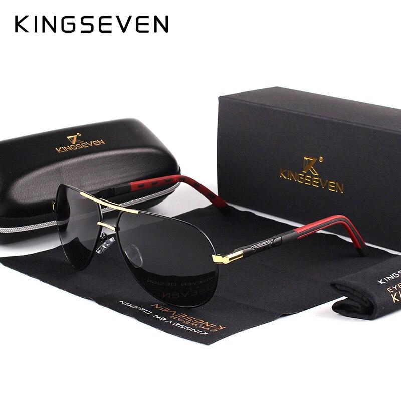 KINGSEVEN Mannen Vintage Aluminium HD Gepolariseerde Zonnebril Classic Merk zonnebrillen Coating Lens Driving Shades Voor Mannen/Wome